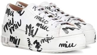 Miu Miu Printed leather platform sneakers