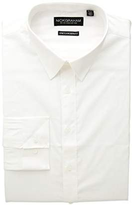 Nick Graham Men's Modern Fitted Solid Stretch Dress Shirt