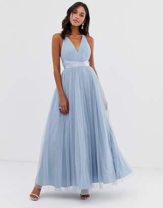 dc20f538c9b Asos Design DESIGN Premium Tulle Maxi Prom Dress With Ribbon Ties