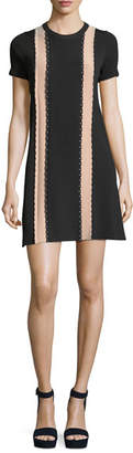 RED Valentino Short-Sleeve Scalloped Vertical Stripe Shift Dress