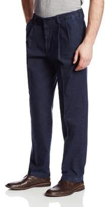 Haggar Men's Expandable-Waist No-Iron Dark Denim Pleat-Front Pant