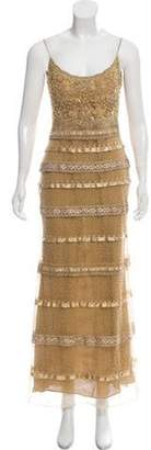 Naeem Khan Embellished Sheath Gown Tan Embellished Sheath Gown