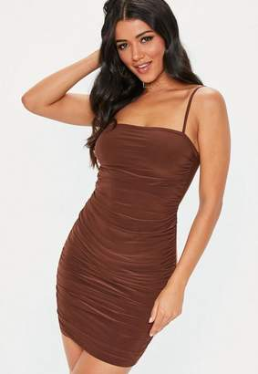 Missguided Brown Strappy Slinky Ruched Bodycon Mini Dress