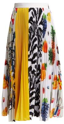 MSGM Fruit Print Pleated Crepe Midi Skirt - Womens - Multi
