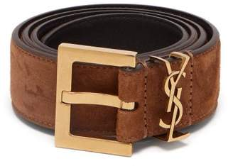 Saint Laurent Monogram Loop Suede Belt - Womens - Tan
