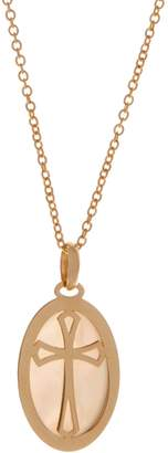 Mother of Pearl Italian Gold Mother-Of-Pearl Cross Pendant, 14K Gold 1.3g