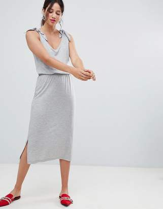 Vero Moda Aware Tie Shoulder Jersey Midi Dress