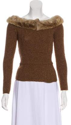 Blumarine Fur-Trimmed Cashmere Sweater