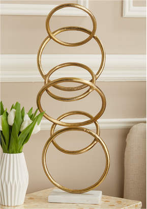 Twos Company Connection Gold Finish Rings Sculpture on Marble Base