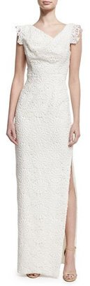 Black Halo Jackie Anniversary Lace Column Gown, White $690 thestylecure.com