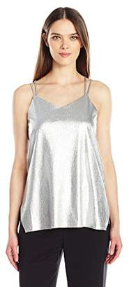 Halston Women's Sleeveless Double Strap Metallic Jersey Cami