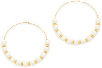 Kenneth Jay Lane Hoop with Imitation Pearls Earrings