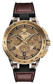 Versace Tech Bronzetone IP Leather& Rubber Strap Watch
