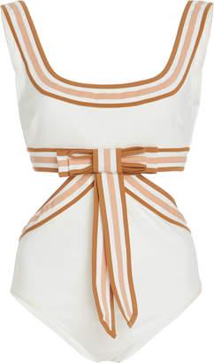 Zimmermann Cutout Striped Bow-Detailed Silk Swimsuit