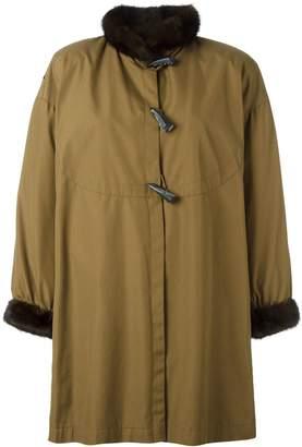 Saint Laurent Pre-Owned toggled fur trim coat
