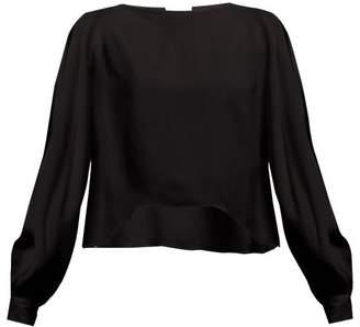 Alexandre Vauthier Slit Batwing Sleeve Crepe Blouse - Womens - Black