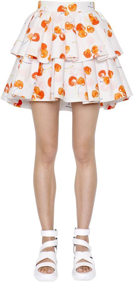 Layered Printed Cotton Poplin Skirt