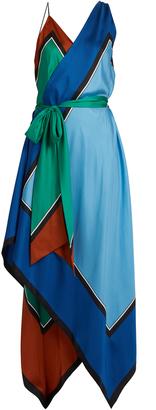DIANE VON FURSTENBERG Asymmetric scarf-print silk dress $538 thestylecure.com
