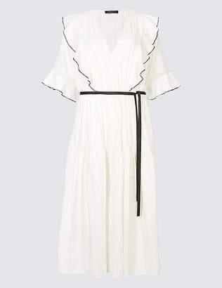 Marks and Spencer Seersucker Insert Half Sleeve Midi Tea Dress