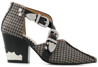 Toga Pulla checked cut-out boots