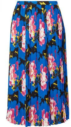 Kenzo Pleated Floral-print Crepe Midi Skirt - Cobalt blue