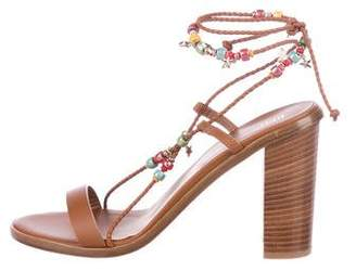 RED Valentino Leather Ankle Strap Sandals