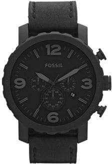 Fossil Mens Nate Black Leather Watch