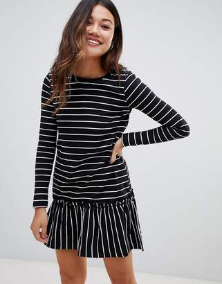 da250db1ad Brave Soul stripe long sleeve dress with frill hem