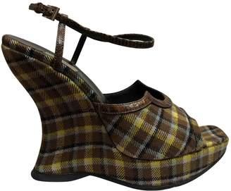 Prada Brown Cloth Heels