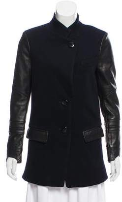 Veda Leather-Accented Wool Jacket