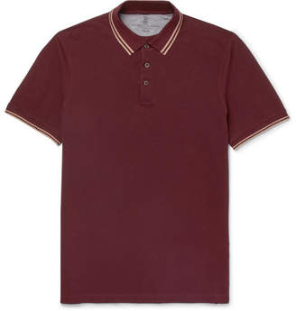 Brunello Cucinelli Slim-Fit Contrast-Tipped Cotton-Pique Polo Shirt - Burgundy
