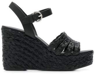 Prada raffia wedge sandals