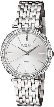 Johan Eric Fredericia Quartz Diamond Silver Stainless Steel Bracelet Watch