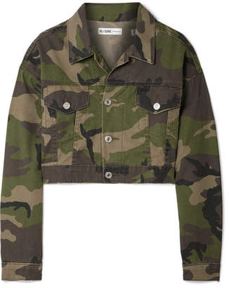 RE/DONE Cropped Camouflage-print Denim Jacket - Green