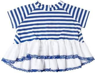 MonnaLisa Striped Cotton Jersey & Satin Top