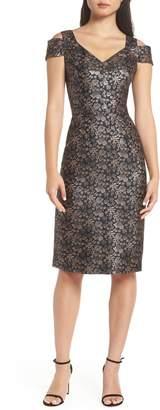 Maggy London Twilight Rose Metallic Brocade Cold Shoulder Dress