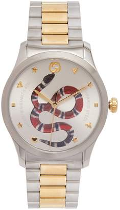 Gucci Timeless stainless steel snake-face watch