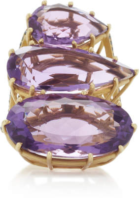 Black Diamond LFrank One-Of-A-Kind Triple Amethyst Ring with Pave