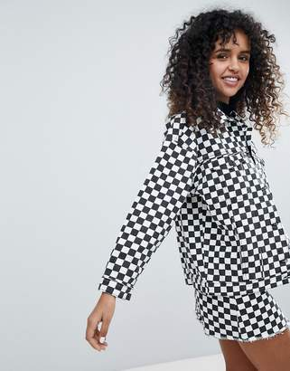 Monki Checker Board Denim Jacket