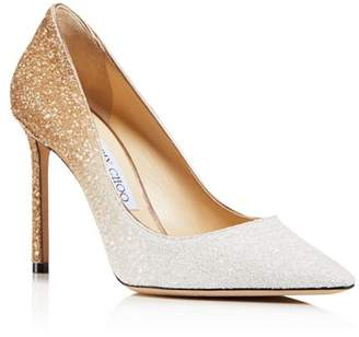Jimmy Choo Women's Romy 100 Ombré Glittered Leather Pointed Toe High-Heel Pumps
