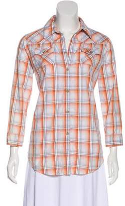 Elizabeth and James Plaid Button-Up Top