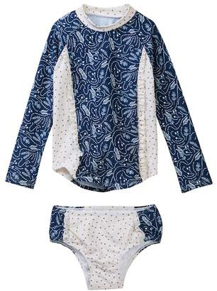 Jessica Simpson Insignia Blue Feather Floral Rashguard Set (Toddler Girls)
