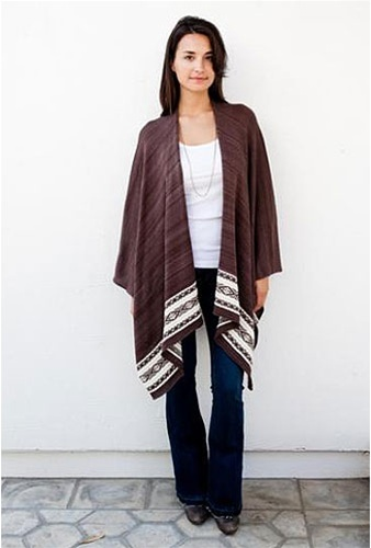 Goddis Seaton Poncho in Sweet Molasses