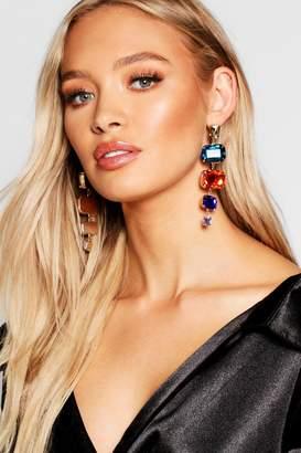 boohoo Drop Stone Statement Earrings