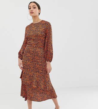 810fd5a9c1 John Zack Tall midi tea dress in contrast leopard print