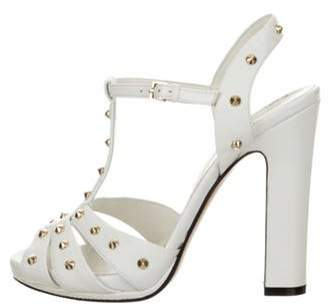 Gucci Studded Leather T-Strap Sandals White Studded Leather T-Strap Sandals