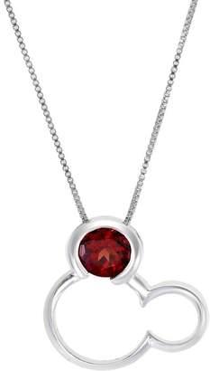 LA Rocks Ruby July Birthstone Mickey Mouse Pendant Necklace