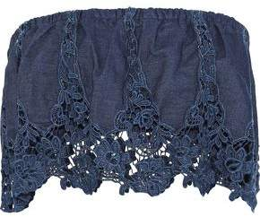 Miguelina Camelia Strapless Guipure Lace-Paneled Cotton-Chambray Top