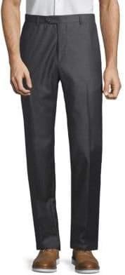 Santorelli Flat-Front Wool Trousers