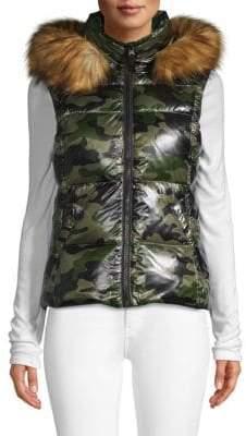 S13/Nyc Faux-Fur Trim Camo Down Vest